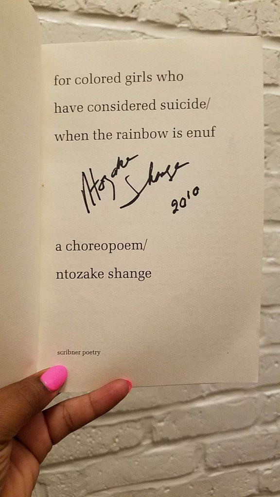 Ntozake Shange's 2010 autograph