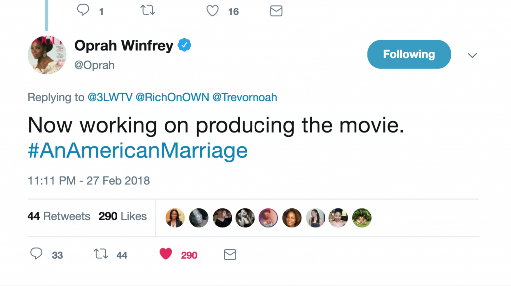 Oprah tweets about Tayari Jones' An American Marriage