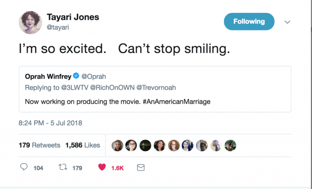 Tayari Jones' tweet in response to Oprah Winfrey making her novel An American Marriage into a movie