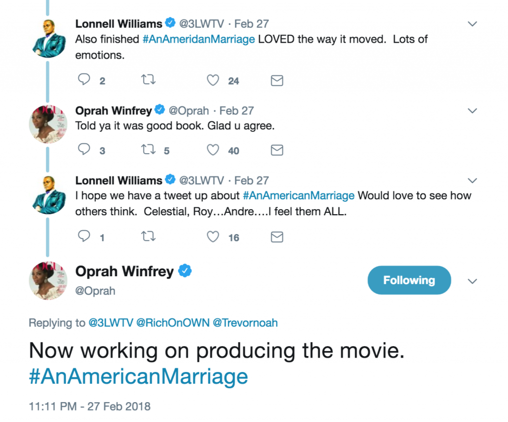 oprah Twitter thread on producing An American Marriage tweet
