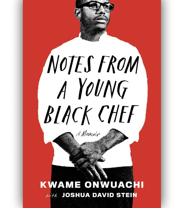 Chef Kwame Onwuachi in white chef coat in front of red background. Notes From A Young Black Chef Book Cover