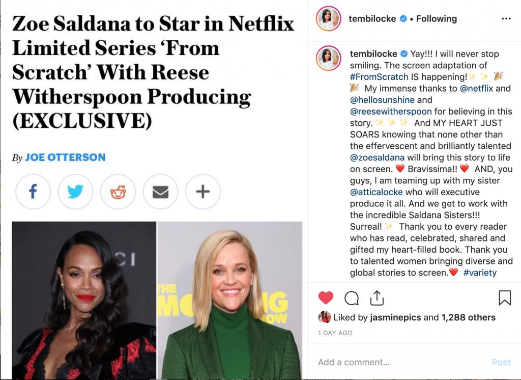 Tembi Locke's Instagram of Zoe Saldana and Reese Witherspoon
