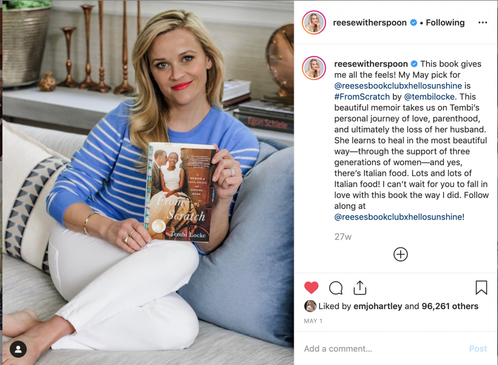 Reese Witherspoon Instagram Holding From Scratch