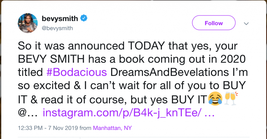Bevy Smith Book Announcement Tweet
